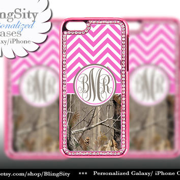 Monogram Hot Pink iPhone 5 5C Case Chevron Camo Bling Rhinestone Metallic Look iPhone 5 5C Hard Case Cover Country Southern Girl