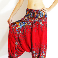 boho clothing boho pants red charming flowers one size fits all for women/yoga trousers/harem pants/comfy pants