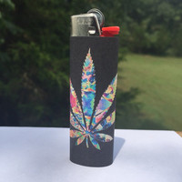 Trippy Tie-Dye Pot Leaf Overlay Full Size Lighter