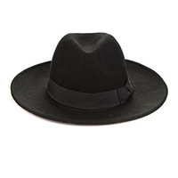 Men's Fedora Hat Wide Brim Wool Bowler Hat Floppy Cowboy Trendy (Black)