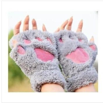 ca DCCKTM4 Fluffy Bear/Cat Plush Paw/Claw Glove-Novelty  Halloween soft toweling lady's half covered gloves mittens [8403189895]