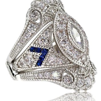 Created Sapphire Marquise Two Piece Antique Victorian Art Deco Bridal Engagement Wedding Ring Set