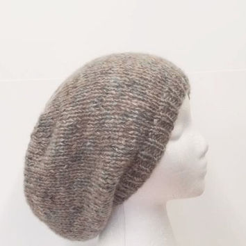 Handmade slouch hat,  soft tan and aqua , large size     5194