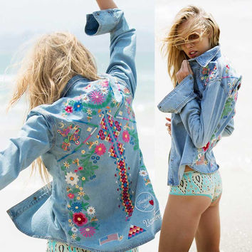 Denim Hippie Embroidered Jacket