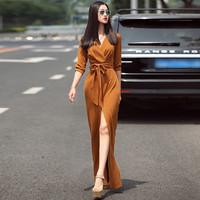 HIGH QUALITY New Fashion Dessigner Maxi Dress Women's 3/4 Sleeve Solid V-neck Slit Casual Long Dress Plus size S-XXL