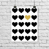 "Black and Gold Heart Poster. Modern Wall Art. Bedroom Decor. Office Art. Love Poster. Anniversary Present. Minimalist. 8.5x11"" print"