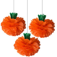 Pumpkin Tissue Paper Pom Pom 3 Piece Set - Halloween Decorations - Pumpkin Decorations - Orange Tissue Pom- fall decor
