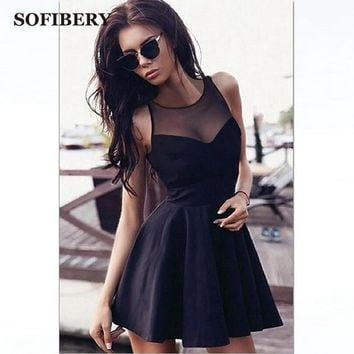 SOFIBERY 2018 spring summer women dress mesh gauze stitching sexy sleeveless large swing Women party dresses FBY03
