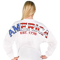 American Prep Spirit Jersey in White by Full Time American - FINAL SALE
