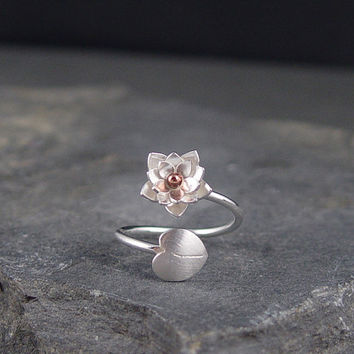 Silver Lotus Blossom and Lily pad Adjustable Ring by HapaGirls