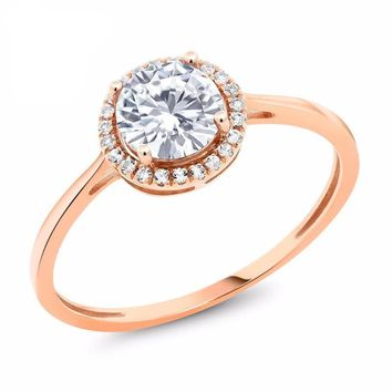 10K Rose Gold 0.86 Ct Round White Created Moissanite White Created Sapphire Ring