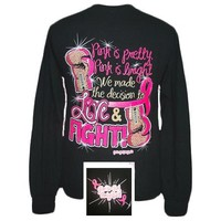 Girlie Girl Originals Fight Pink Ribbon Breast Cancer Long Sleeve Bright T Shirt