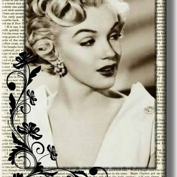 Marilyn Monroe Vintage Newspaper Picture on Stretched Canvas, Wall Art Décor, Ready to Hang