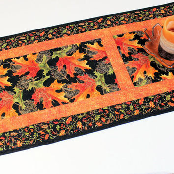 Autumn Leaves Quilted Table Runner, Orange, Green and Black Table Runner Quilt, Fall Quilt, Quiltsy Handmade