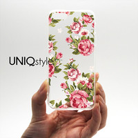 Transparent clear case for iPhone 5 / 5S / 5C Samsung Note 3, floral flower pattern plastic hard case with tpu edge w/extra protection, E06