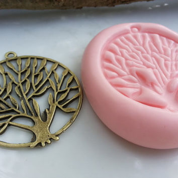 LARGE Tree of Life Pendant Silicone Putty Molds Pendant, PMC Metal, Polymer, Cold Porcelain Clay, Soap, Candle & Resin Push Pour Mold