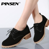 PINSEN 2017 Autumn Women Oxford Shoes Leather Suede Lace Up Round Toe Middle Heel Ladies Boat Shoes Woman Casual Flat Moccasins