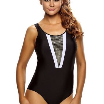 Plunging V Mesh Splicing Accent Teddy Swimsuit