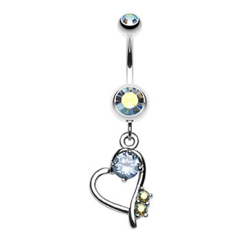 Sparkling Stone in Heart Dangle Belly Button Ring