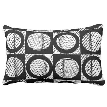 modern pillow abstract bold black and white art