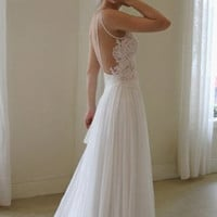 Backless chiffon spaghetti straps A-line white lace wedding dress