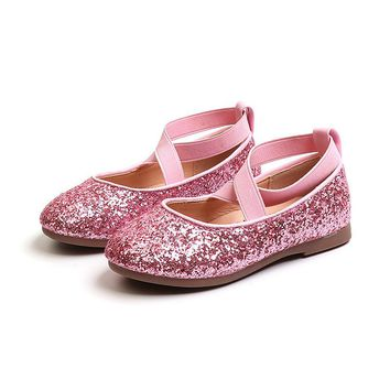 JGSHOWKITO 2018 Autumn New Fashion Girls Shoes Shiny Glitter Leather Flats For Big Kids Princess Sweet Wedding Shoes Sequins