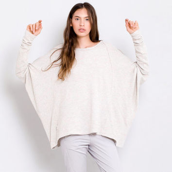 Oversize loose fit cream natural beige top