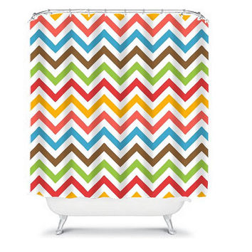 Chevron Shower Curtain Monogram Bold Colorful Rainbow Geometric Pattern Kid Child Bathroom Bath Polyester Made in the USA