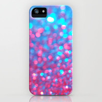 Blue Pink Sparkle Blur iPhone & iPod Case by RexLambo
