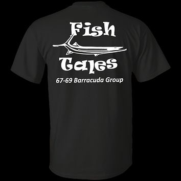 Fish Tales Barracuda Group Shirts White Logo on BACK ONLY