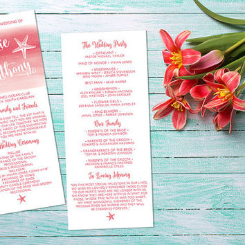 Beach Wedding Program - Starfish Ceremony Program - Tea Length Program Hand Painted Wedding Shell - Watercolor Wedding Order of Service