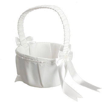 White Ivory Bow Wedding Blower Basket Ceremony Festive Party Love Case Satin Flower Girl Basket