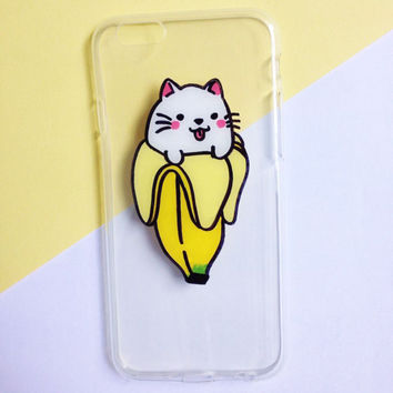 Hand painted Banana Cat phone case, iPhone 7 case, iPhone 6 case, iPhone 6s case, Samsung Galaxy S7 Edge Case, Samsung Galaxy S8 Case