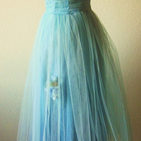 Vintage-1950s-Blue-Turquoise Blue-Blue Tulle-Blue Prom Gown-Netted Tulle-Strapless-Sphaghetti Strap Prom Gown-Party Gown-S-4