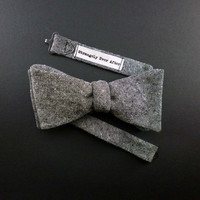 Charcoal gray chambray self tie bow tie – mens cotton linen free style bowtie – adult size – rustic classic style