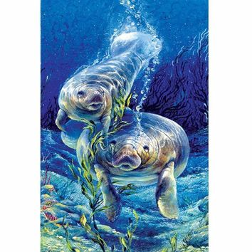 5D Diamond Painting Two Manatees Kit
