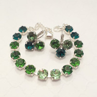 SWAROVSKI CRYSTAL BRACELET, earrings, green, st patricks day, emerald, green, shamrock earrings, designer inspired