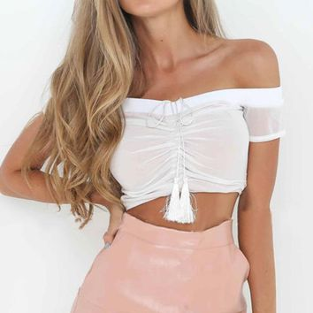 Sexy Ruffled  Ladies Tops Lace Up Cropped Blouse Women Off Shoulder Blouse Female Thin White Black Blouse Shirts Blusas Mujer