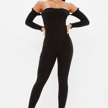 Missguided - Black Bardot Frill Ribbed Unitard Jumpsuit