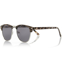 River Island MensBrown tortoise half frame retro sunglasses