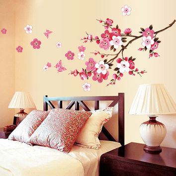 Peach blossom stickers stickers fashion TV setting wall of the sitting room the bedroom window wall stickers SM6