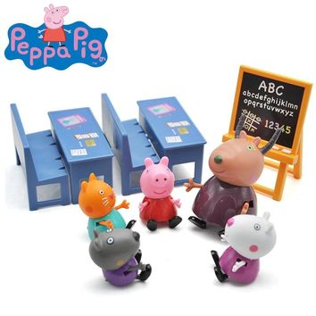 Original Peppa George Pig Family Friends Action Figures Classroom Scene Educational Toy Children Christmas Birthday Gift
