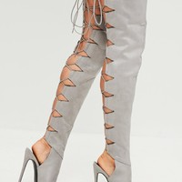 Missguided - Peace + Love Grey Lace Up Back Heeled Boot