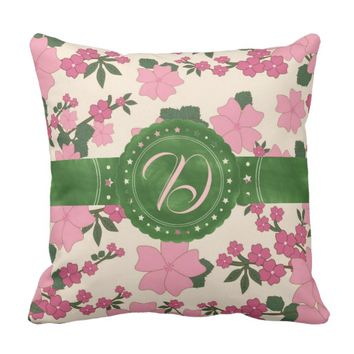 Pink and Green Floral Initial Throw Pillow