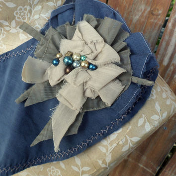 Detachable Fabric Collar in Vintage Blue and Light Tan, Shabby Chic Shrug Rustic Capelet