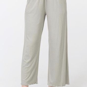 Kayla Ribbed Knit Lounge Pant in Smoke Green