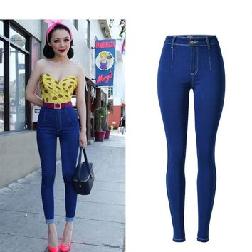 High-Waist Denim Pencil Pants Slim Stretchable Skinny Boyfriend Jeans