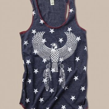 NEW Native EAGLE EGYPTIAN Star or Camo Print Tri Blend Tank Top Alternative Apparel More Patterns Small Medium Large XLarge Racerback