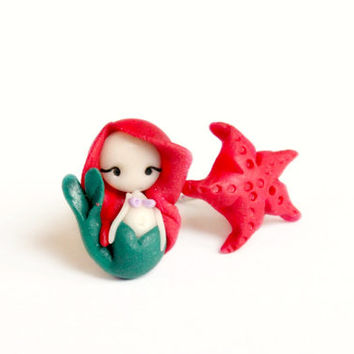 Ariel the little mermaid, studs earrings inspired by Disney fairy tale.