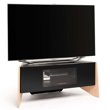 "Facet Plus 39"" TV Stand Light Oak Veneer Black Glass Doors"